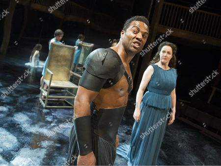 Ray Fearon as Agamemnon, Derbhle Crotty as Hecuba