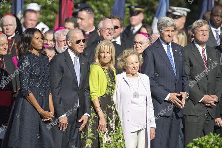 Stock Photo of Michelle Obama, Vice President Joe Biden, Jill Biden, Ethel Shakel Kennedy and John Kerry