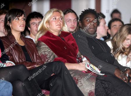 Vanessa Feltz and boyfriend Dennis Duhaney watching Vanessa's daughter Allegra, who took part in the university fashion show