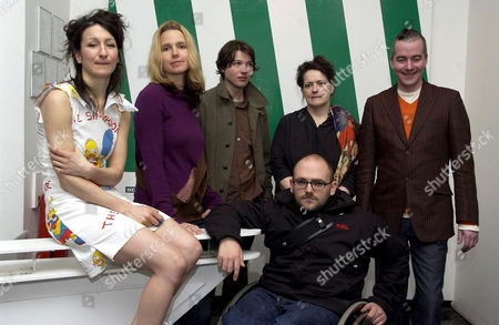 Lali Chetwynd, Daria Martin, Luke Fowler, Christina Mackie, Donald Urquhart, front Ryan Gander who are shortlisted for the Becks Future's 2005 awards