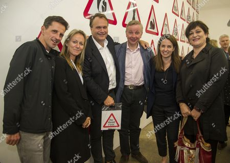 Stock Image of Rt Hon Michael Gove MP, Lord Chancellor and Secretary of State for Justice (centre) with Anna James, founder of Spring Chicken and her husband Sebastian James beside him. Far right is Sarah Vine, wife of Michael Gove, with Allie Esiri and Dan Fenton (far left)