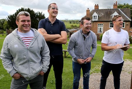 Ireland's Jack McGrath, Devin Toner, Peter O'Mahony and Jamie Heaslip during a visit to a clay pigeon shooting centre today