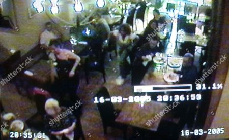 CCTV footage taken from the restauraunt camera in 'The Merchant of Colgate' showing Trisha Goddard running to the aid of Linda Johnson.