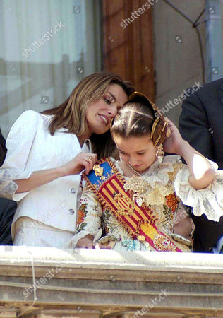 Princess Letizia accompanied by the Fallas Child Queen, Cristina Sanchez, at Valencia City Hall during the second most important day of Fallas celebration
