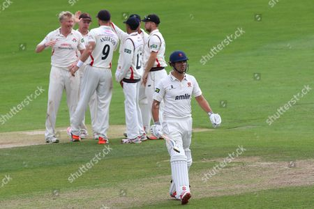 Alastair Cook of Essex (C) leaves the field having been dismissed for 6 from the bowling of Glen Chapple during Essex CCC vs Lancashire CCC, Day Four