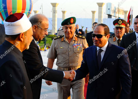 Egyptian President Abdel Fattah al-Sisi attends Eid al-Adha prayers at the Field Marshal Mohamed Hussein Tantawi Mosque