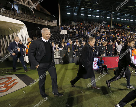 Manager Kit Symons walks out of the tunnel with Alan Curbishley during the Sky Bet Championship match between Fulham and QPR played at Craven Cottage, London on September 25th 2015