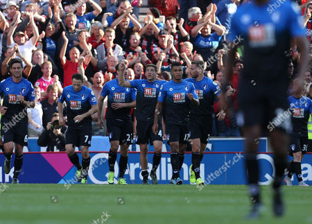 Bournemouth's Dan Gosling celebrates his goal during the Barclays Premier league  match between Stoke City and Bournemouth played at The Britannia Stadium