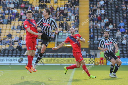 Notts County defender Haydn Hollis wins another header this time against York City forward Reece Thompson  during the Sky Bet League 2 match between Notts County and York City at Meadow Lane, Nottingham