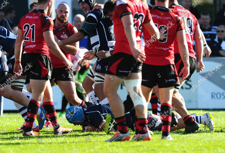 Bristol Rugby Flanker Olly Robinson scores a try