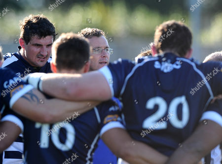 Stock Photo of Bristol Rugby First Team Coach Sean Holley addresses the team after the game