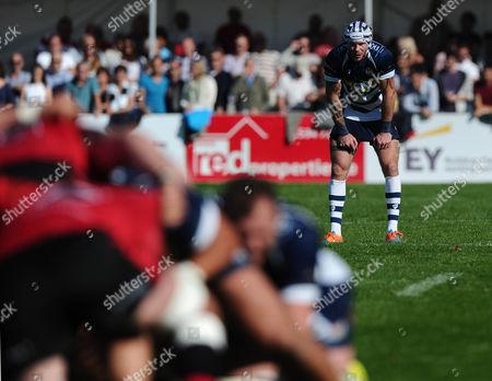 Bristol Rugby Winger Ryan Edwards observes a scrum
