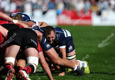 Bristol Rugby Flanker Nick Koster in the scrum