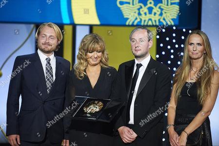 Runar Runarsson receive the Golden Shell (Concha de Oro) award for best film 'Sparrows' during Closing Ceremony, 63rd San Sebastian International Film Festival at the Kursaal Palace