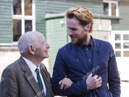 "Stock Picture of Actor Shaun Evans who plays the part of detective Endeavour in the tv Series '"" Endeavour "" with writer Colin Dexter the creator of the hit series Morse."
