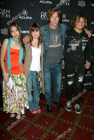 Kevin Bacon with daughter Sosie Ruth (far left) and son Travis