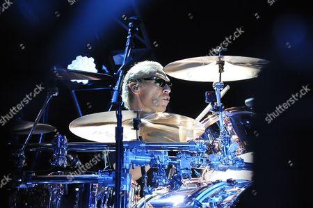 Alex Van Halen of Van Halen performing on stage