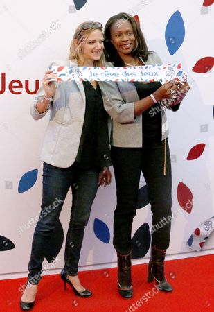 Virginie Dedieu (L) and Laura Flessel attend the launch party for 'Je Reve Des Jeux', 'I dream about the Games'