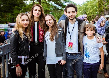 Queen Rania, HRH Crown Prince Hussein, HRH Priincess Iman, HRH Princess Salma, HRH Prince Hashem 4th Global Citizen Festival, New York