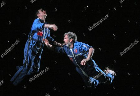 'The Cosmonaut's Last Message' at the Donmar Warehouse. Paul Higgins ( Oleg ) Sean Campion ( Casimir )