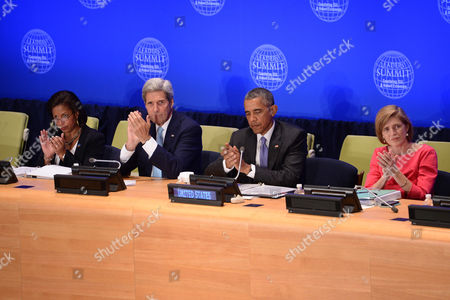 Susan Rice, United States Ambassador to the United Nations, John Kerry, U.S. Secretary of State, U.S. President Barack Obama and Samantha Power, United States Ambassador to the United Nations