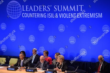 United States President Barack Obama, His Excellency Haider al-Abadi, Prime Minister of the Republic of Iraq, Her Excellency Erna Solberg, Prime Minister of Norway, (2nd row) Susan Rice, United States Ambassador to the United Nations (behind President Obama), Secretary of State John Kerry and Samantha Power (pink), United States Ambassador to the United Nations
