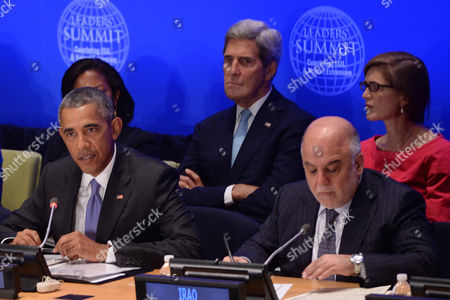 United States President Barack Obama (center), His Excellency Haider al-Abadi, Prime Minister of the Republic of Iraq (2nd row) Susan Rice, United States Ambassador to the United Nations (behind President Obama), Secretary of State John Kerry and Samantha Power (pink), United States Ambassador to the United Nations