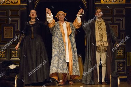 Melody Grove (Isabella Farnese), Mark Rylance (Phillipe V) and Sam Crane (Farinelli) during the curtain call