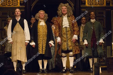 Matthew Darcy (Jethro/Juan), Colin Hurley (Metastasio), Edward Peel (De la Cuadra) and Huss Garbiya (Dr Jose Cervi) during the curtain call