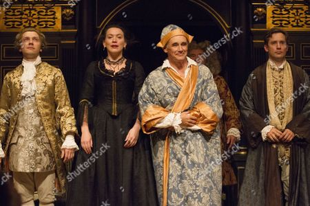 Stock Image of Iestyn Davies (Castrato), Melody Grove (Isabella Farnese), Mark Rylance (Phillipe V) and Sam Crane (Farinelli) during the curtain call