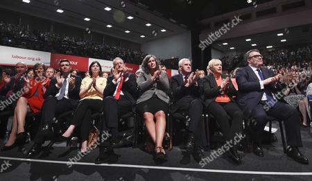 Members of the shadow cabinet, Andy Burnham, Lucy Powell, Hilary Benn, Heidi Alexander, John McDonnell, Angela Eagle and Tom Watson
