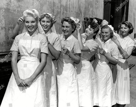 Belinda Lee, Barbara Archer, Delphi Lawrence, Adrienne Corri, Henryetta Edwards with Technical Advisor Sister Bridget Wall