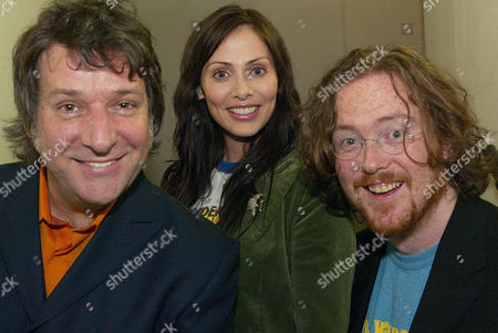 Virgin DJs Pete Mitchell and Geoff Lloyd with Natalie Imbruglia