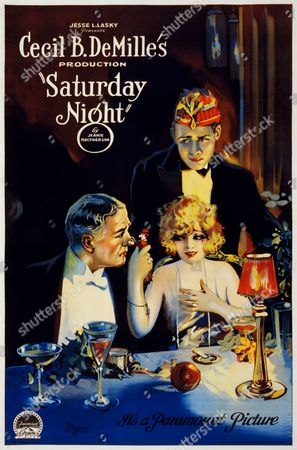 Film poster for 'Saturday Night'. American silent romantic comedy film directed by Cecil B. DE Mille. Starring Leatrice Joy, Conrad Nagel and Edith Roberts. Dated 1922.
