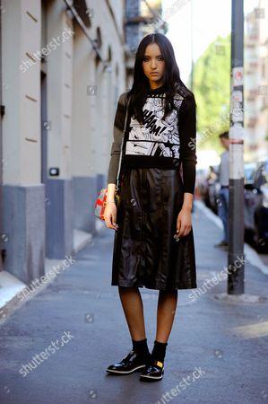 Editorial photo of Street style, Milan Fashion Week, Italy - 26 Sep 2015