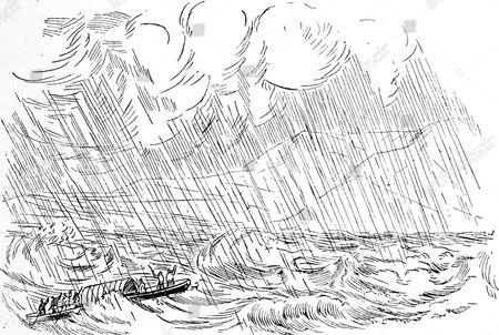 Samuel Baker's (1821-1893) boat in a storm on Lake Albert, Nyanza.