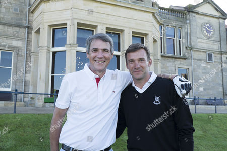 Alan Hansen and Andrei Shevchenko on the first tee, of the Old Course.