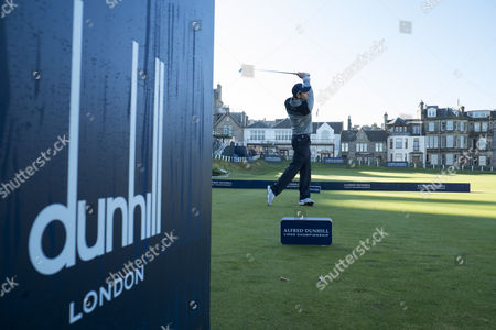 Oliver Wilson on the first tee, of the Old Course.