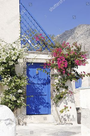 Flowers and a house entrance, Emborio, Santorini, Greece