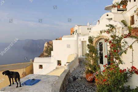 Houses in the typical cycladic architecture, Oia, Santorini, Greece