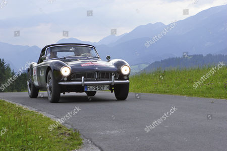 Stock Picture of Racing legend Dieter Quester driving a BMW 507 from 1958, oldtimer race Ennstal Classic 2005, Styria, Austria