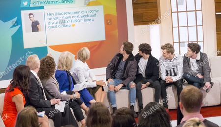 Andrea McLean, Nadia Sawalha, Bruce Forsyth, Sherrie Hewson and Jane Moore with The Vamps.