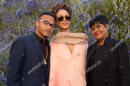 Rihanna, her mother Monica Fenty and her brother Rajad Fenty