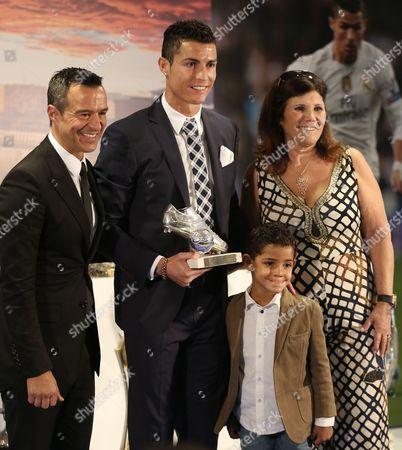 Cristiano Ronaldo with his son Cristiano Jr and his mother Maria Dolores dos Santos Aveiro