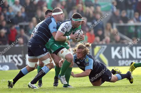 Connacht's Andrew Browne with Lou Reed and Kris Dacey of Cardiff Blues