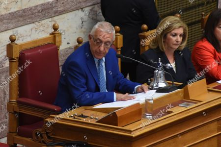 Stock Picture of Nikitas Kaklamanis from the Nea Dimokratia serving as a Speaker of Parliament since the former Spokeswoman Zoe Konstantopoulou was not re-elected during swearing in of the 300 lawmakers of the eight parties that were elected in the Greek national elections of September 20 2015 At Parliament in Athens, on Saturday, October 3, 2015
