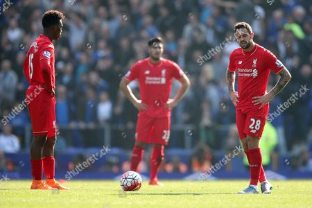 Stock Picture of Daniel Sturridge of Liverpool, left and Danny Ings look dejected after Everton equalise during the Barclays Premier League match between Everton and Liverpool, played at Goodison Park, Liverpool. 0-1