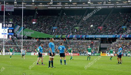 Jonny Sexton of Ireland kicks a penalty.