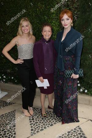 Beth Behrs, Gail Abarbanel and Christina Hendricks
