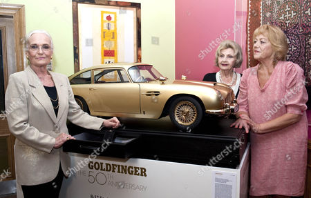 Goldfinger 50th Anniversary Auction Hosted By Chisties Which Is Raising Money For Nspcc Taking Place In London. Pictured Left To Right Margaret Nolan Nadja Regin And Shirley Eaton All Bond Girls From The Goldfing Film.17.9.14